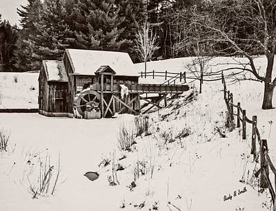 Digital Art - Black And White Art Photograph.winter At The Gristmill. by Rusty R Smith