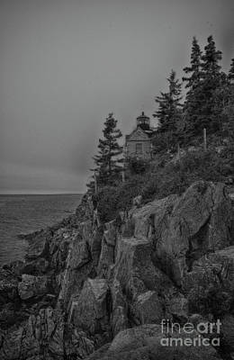 Impressionist Landscapes - Black and White Bass Light House by Ruth H Curtis