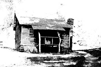 Vintage Stamps - Black And WHite Brinegar Cabin by Cathy Lindsey