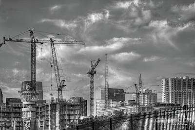 Photograph - Black And White Cranes Atlanta Construction Art by Reid Callaway