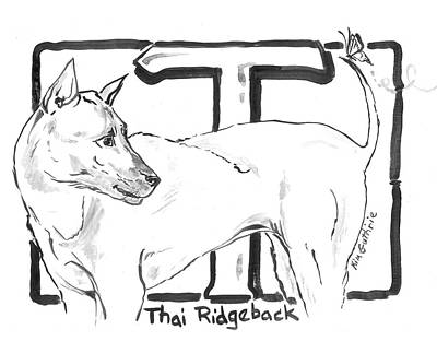 Wall Art - Painting - Black And White Dog Drawing Thai Ridgeback With Letter T by Kim Guthrie