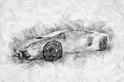 Photograph - Black And White Drawing Of Sports Car. by Michal Bednarek