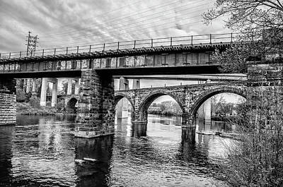 Photograph - Black And White - East Falls Bridges by Bill Cannon