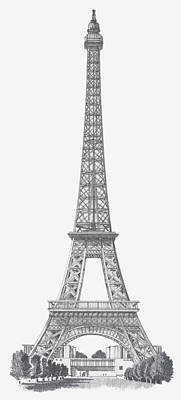 Digital Art - Black And White Illustration Of Eiffel by Dorling Kindersley
