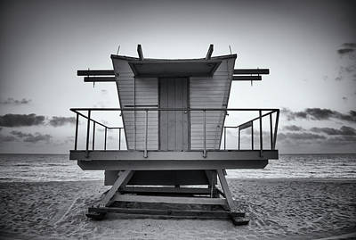 Architecture Photograph - Black And White Lifeguard Stand In by Boogich