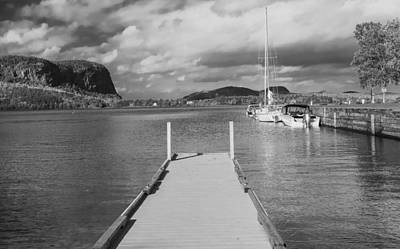 Photograph - Black And White Mt Kineo Dock by Dan Sproul