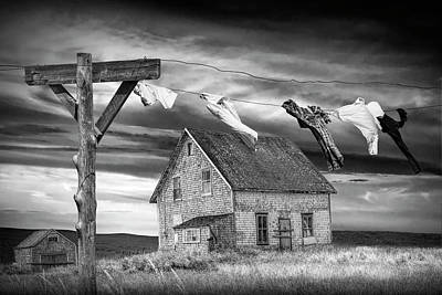 Photograph - Black And White Of Laundry On The Line By Boarded Up House by Randall Nyhof