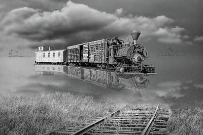 Photograph - Black And White Of On Life's Railway With Old Steam Locamotive E by Randall Nyhof