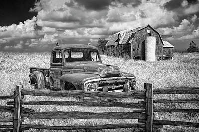 Photograph - Black And White Of Rusted International Harvester Pickup Truck In A Rural Landscape by Randall Nyhof