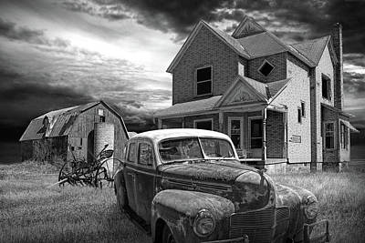 Photograph - Black And White Of Sun Setting On An Abandoned Small Farm With Old Automobile by Randall Nyhof