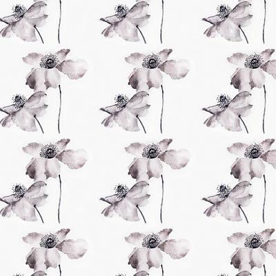 Painting - Black And White Poppy Flower Watercolor Painting Pattern #mahsawatercolor by Mahsa Watercolor Artist