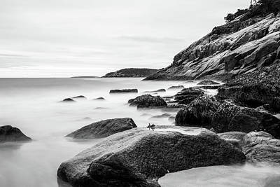 Photograph - Black And White Sand Beach Acadia National Park by Dan Sproul