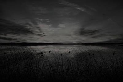 Photograph - Black And White Sunrise Duck Hunt by Dale Kauzlaric