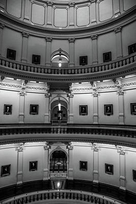 Photograph - Black And White Texas Capitol Interior by Dan Sproul