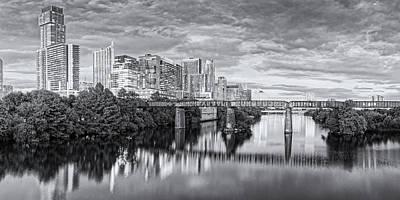 Tool Paintings - Black and White Twilight Panorama of Downtown Austin Skyline from Pfluger Pedestrian Bridge - Texas by Silvio Ligutti
