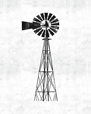 Farmhouse Wall Art - Digital Art - Black And White Windmill 1- Art By Linda Woods by Linda Woods