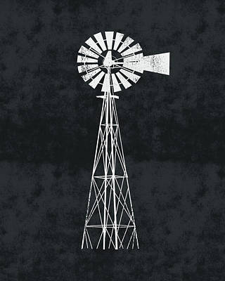 Digital Art - Black And White Windmill 2- Art By Linda Woods by Linda Woods
