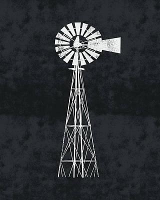 Digital Art - Black And White Windmill 2- Art By Linda Woods by Linda Woods