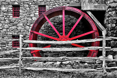 Photograph - Black And White With Red - Grist Mill by Luke Moore