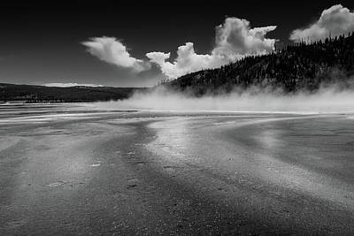 Photograph - Black And White Yellowstone Hot Spring by Dan Sproul