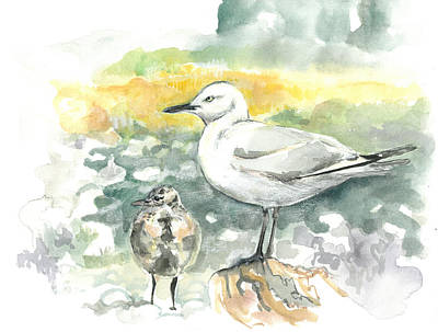 Painting - Black-billed Gull Family by Abby McBride