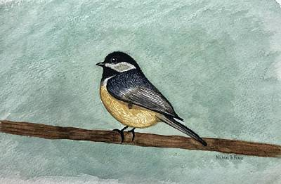 Animals Paintings - Black Capped Chickadee by Michael Panno