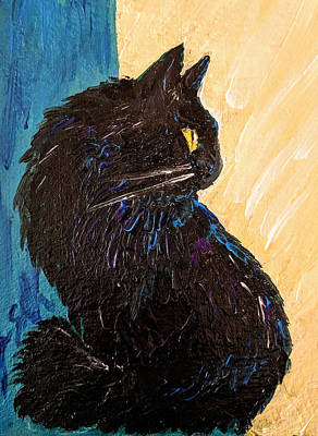 Painting - Black Cat In Sunlight by Jeannine Selig