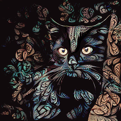 Digital Art - Black Cat by Peggy Collins