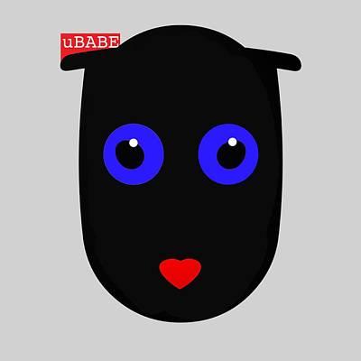 Digital Art - Black Cat by Ubabe Style