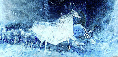 Digital Art - Black Cow And Horses Long - Negative by Weston Westmoreland