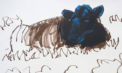 Painting - Black Cow Lying Down Sketch by Mike Jory
