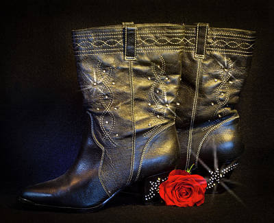 Photograph - Black Cowboy Boots by Patti Deters