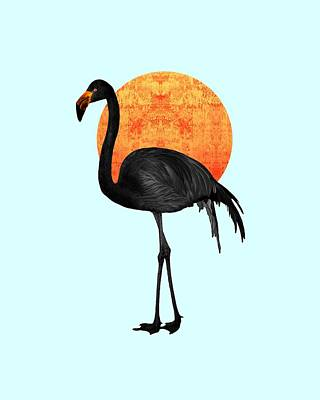 Royalty-Free and Rights-Managed Images - Black Flamingo 4 - Tropical Wall Decor - Flamingo Posters - Exotic Birds - Black, Modern, Minimal  by Studio Grafiikka