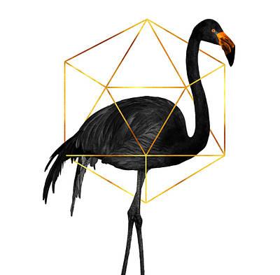 Birds Mixed Media Rights Managed Images - Black Flamingo 5 - Tropical Wall Decor - Flamingo Posters - Exotic, Black, Gold, Modern, Minimal  Royalty-Free Image by Studio Grafiikka