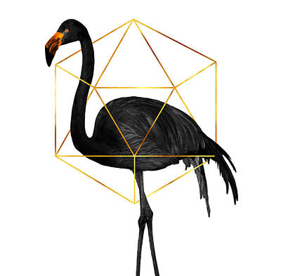 Mixed Media Royalty Free Images - Black Flamingo 6 - Tropical Wall Decor - Flamingo Posters - Exotic, Black, Gold, Modern, Minimal  Royalty-Free Image by Studio Grafiikka