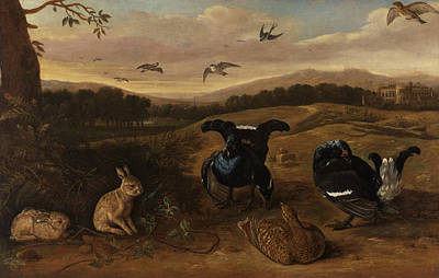 Painting - Black Game, Rabbits, And Swallows In A Park by Leonard Knyff
