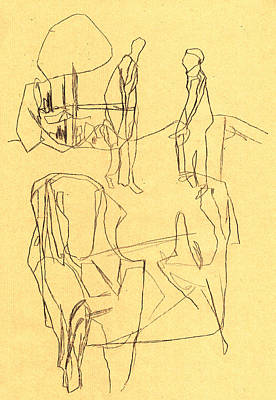 Drawing - Black Ivory 2 Yellow Paper Armchair by Artist Dot