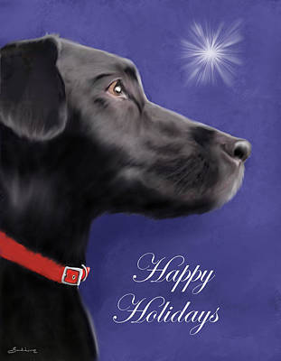 Wall Art - Painting - Black Labrador Retriever - Happy Holidays by Sannel Larson