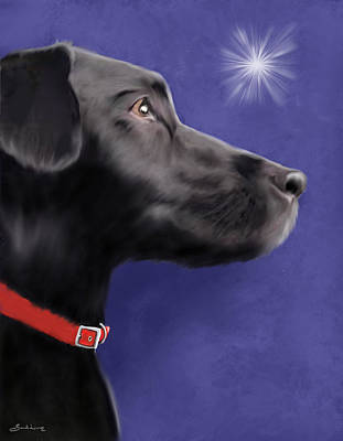 Wall Art - Painting - Black Labrador Retriever - Wish Upon A Star  by Sannel Larson
