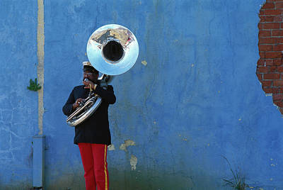 Sousaphone Wall Art - Photograph - Black Man Playing Tuba In New Orleans by Tim Bieber