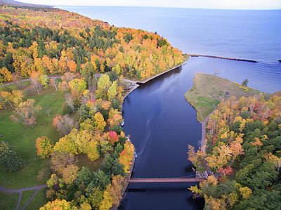 Photograph - Black River Harbor Autumn Aerial 10171701 by Rick Veldman