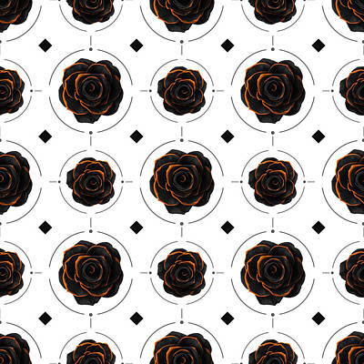 Fantasy Mixed Media - Black Rose Pattern - Black and Gold Rose - Death - Minimal Black and Gold Decor - Dark 3 by Studio Grafiikka