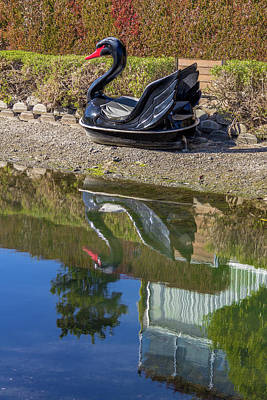 Wall Art - Photograph - Black Swan Boat On Venice Canal Reimagined by Roslyn Wilkins