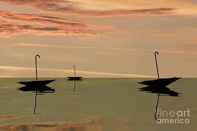 Digital Art - Black Swan Umbrellas by Clayton Bastiani