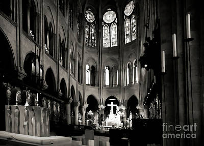 Photograph - Black White Alter Notre Dame Paris  by Chuck Kuhn