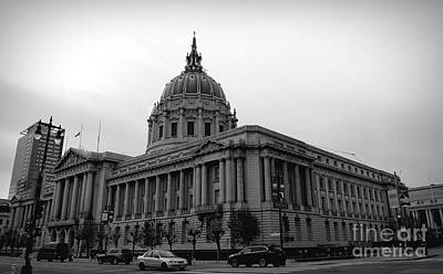 Photograph - Black White City Hall Downtown San Francisco  by Chuck Kuhn