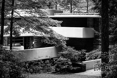 Photograph - Black White Falling Water Architect Frank Lloyd Wright  by Chuck Kuhn