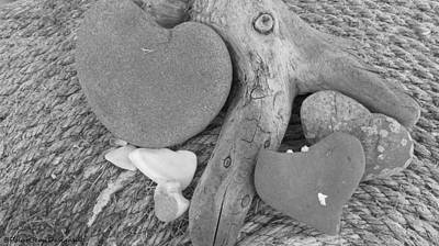 Photograph - Black White Hearts by Donna Goutermont