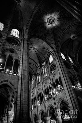 Photograph - Black White Interior Notre Dame Cathedral Paris  by Chuck Kuhn