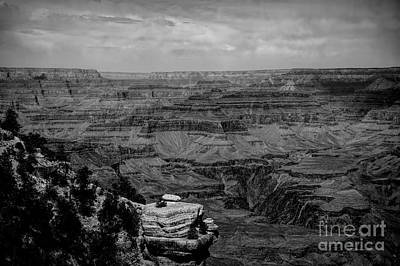 Photograph - Black White Panorama Grand Canyon  by Chuck Kuhn
